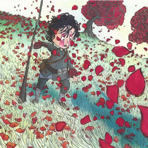 The soldier with the gun in his hand in a red poppies field of Piero's war by Fabrizio de andre